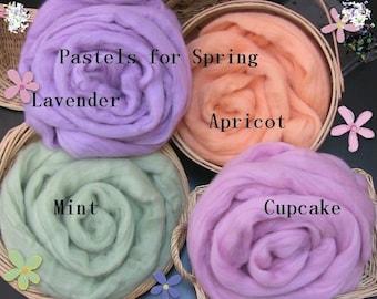 Merino Wool Roving - 4 oz - Pastels for Spring