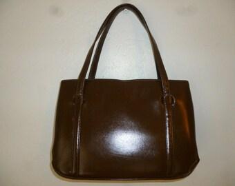 Vintage - 50's - Brown - Leather - Kelly - Handbag - size 10 x 7 x 3