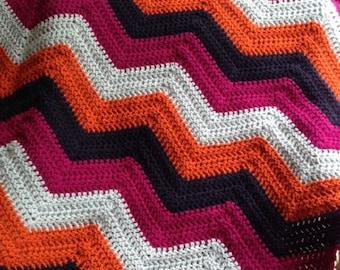 new chevron zig zag ripple baby toddler blanket afghan wrap crochet knit wheelchair stripes VANNA WHITE yarn adult lap robe multi color BOLD