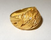 Vintage Hand Crafted 14k Yellow Gold Dome Leaf Ring Size 6 1/2