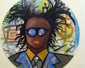 Basquiat  - Original  Psychedelic Surreal Pop Art on Vinyl Record