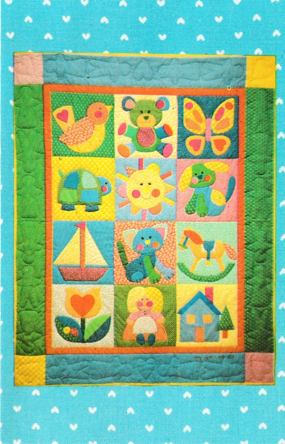 Quilt  Pattern with 20 Vintage Style Applique Patterns For Baby Quilt