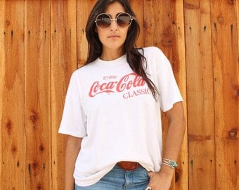 Vintage Coca Cola Classic 90s Tee White Size XL Great Condition Made in USA City of Industry