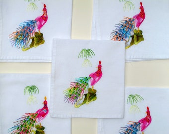 Vintage Hand Embroidered Peacock Napkins, Boho Mod Bright Colorful Silk Embroidery Peacock Feathers Cotton Napkins Hostess