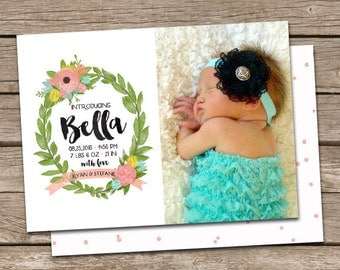 Birth Announcement : Bella Baby Girl Custom Photo Birth Announcement