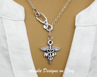NP Nurse Practitioner Caduceus Stethoscope Lariat Necklace - Antique Silver