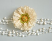 Pearl and Poppy - Ivory- Handmade Fabric Poppy and Pearl Necklace