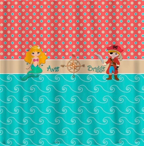 Day At The Beach Shower Curtain -Theme with Blonde Mermaid and Pirate ...