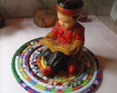 Bohemian Coiled Multicolored Table Mat, Trivet or Hot Pad - Handmade by Me