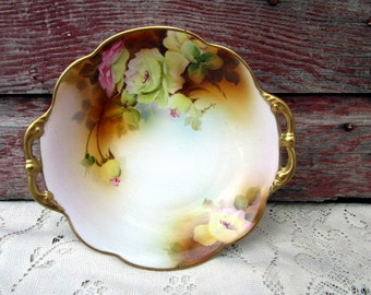 Antique Hand Painted NIPPON MORIAGE BOWL Yellow rose Flowers Gold handles