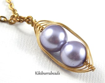 Peapod Necklace - Two Peas In A Pod Gold Necklace Lavender Pearls Or Choose Your Color