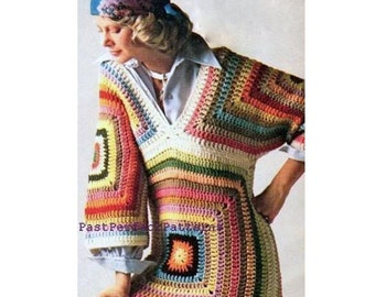 INSTANT DOWNLOAD PDF Vintage Crochet Pattern Granny Square Triangle Tunic Sweater  1970s