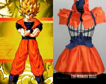 Halloween Flash sale Cosplay Dragon Ball Goku girl inspired  peplum bustle burlesque set bolero  wrap apron bustle