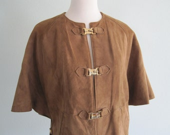 RESERVED Vintage Suede Jacket - Gorgeous 60s Brown Suede Cape Style Jacket Altman of Dallas - Vintage 1960s Suede Jacket S M