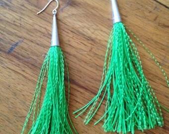 Bright Emerald Green Tassel Earrings