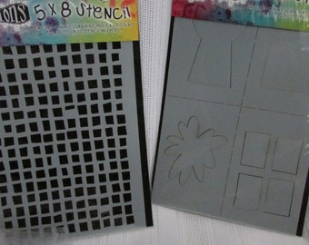 DYLUSIONS SQUARES and SHAPES 5 x 8 Stencils Two Sets