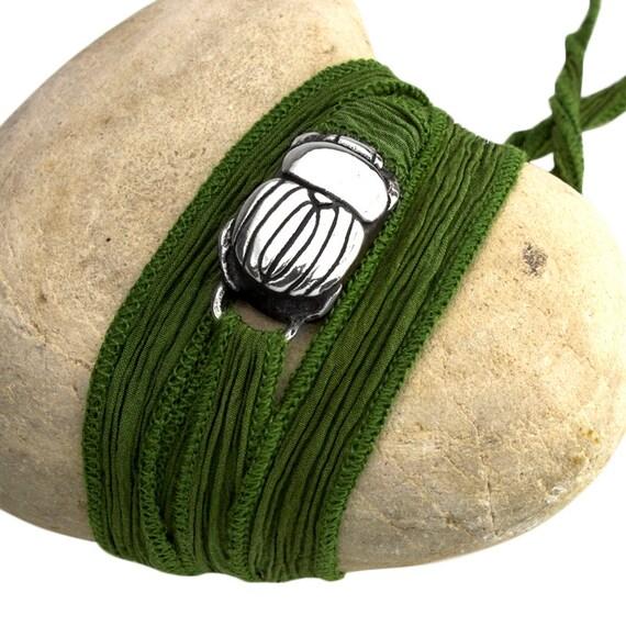 Scarab Bracelet, Scarab Wrap Bracelet, Scarab jewelry, Silk Tie Bracelet, Scarab Beetle, Sterling Silver Scarab, made in California