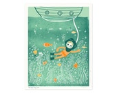 Diver Lookout Illustrated Art Print
