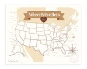 Where We've Been: USA Map, Vintage Brown Illustrated Art Print