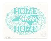 Home Sweet North Carolina, Icy Blue Illustrated Art Print