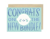 Congrats on the New Bundle, Blue, Illustrated Congrats Card