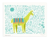 Put the Llama in the Coconut Illustrated Art Print