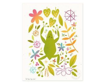 Jungle Frog Illustrated Art Print