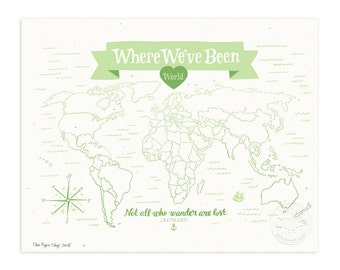 Where We've Been: World Map, Mint Julep Illustrated Art Print