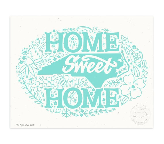 Home Sweet North Carolina, Icy Blue Illustrated Art Print