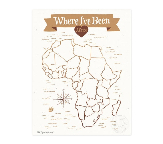 Where I've Been: Africa Map, Vintage Brown Illustrated Art Print