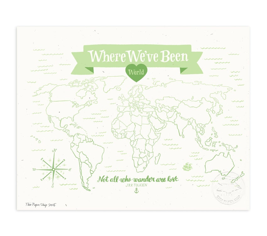 where we ve been world map mint julep illustrated art