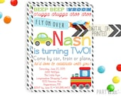 Planes Trains Automobiles Invitation | Planes Trains Invites | Digital or Printed | Airplane Party | Train Party | Transportation Invite