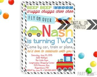 Planes Trains Automobiles Invitation   Planes Trains Invites   Digital or Printed   Airplane Party   Train Party   Transportation Invite