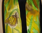 Monarch butterfly on a leaf - hand painted silk scarf