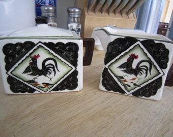 Ceramic Square Sugar Creamer Set Rooster Motif