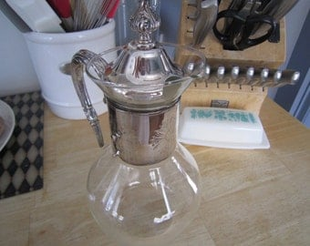 Silver Plated Lidded Carafe Pitcher Spouted