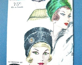 ON SALE Uncut Vogue 5094 Hat Vintage  Sewing Pattern from the 1950s or early 60s.   Head Size 22