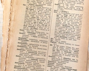 20 Vintage Hungarian/English Dictionary Pages 1967