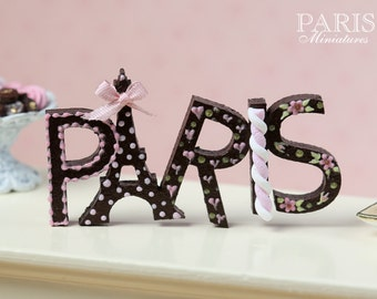 Chocolate and Pink 'PARIS' Sign / Decoration - Hand Painted Miniature in 12th Scale for Dollhouse