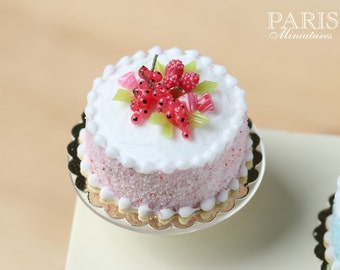 MTO -Pastel Cake - Pink, Decorated with Red Fruit, Berlingot Candy - Miniature Food in 12th Scale for Dollhouse