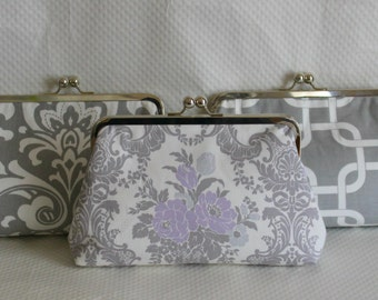 Wedding Clutches - Bridesmaids Clutches - Wedding Gifts - Bridesmaid Gifts - Gray/White Wedding Clutches - Bridal Clutches Sets of 3 or 6