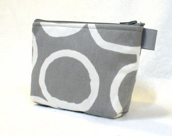 Clearance SALE Bridesmaid Gift Gray White Cosmetic Bag Free Hand Fabric Gadget Pouch  Zipper Pouch Makeup Bag Cotton Zip Pouch