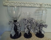 3 upcycled Black white Zebra Candy buffet jars ... Wedding candy bar Party