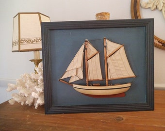 Vintage Sail boat Schooner ~ 3D Wall art ~ Picture ~ Framed boat ~ Beach Cottage House ~
