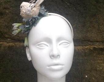 Lace bird and flower headband bridal vintage