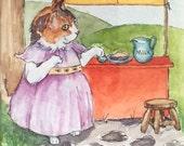 Milk and Pies - Framed Original Ink & Watercolor Illustration by Nancy Cuevas