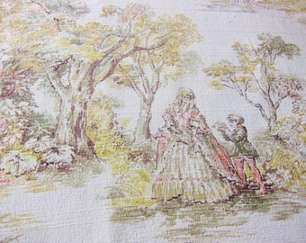 Romantic barkcloth ,1950s  fabric, vintage decor, scenic barkcloth,old fashioned pastel