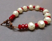 Ivory Glass Pearl Bracelet. Poppy Red Glass Bracelet. True Blood Bracelet. Seven Inch Bracelet.