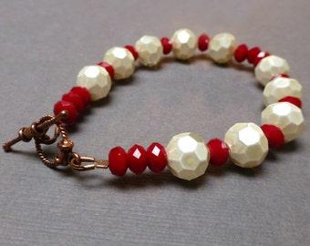 Ivory Glass Pearl Bracelet. Poppy Red Glass Bracelet. True Blood Bracelet. Seven Inch Bracelet.