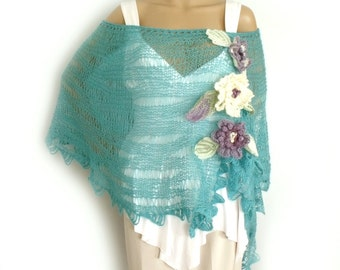 Boho poncho, Off shoulder poncho, Loose knit poncho, Knit cape, Lace knit stole, Beach wedding cape, Summer poncho, Freeform crochet flowers
